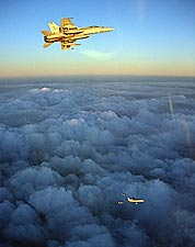 F/A-18C Hornets w/ British RAF L-1011 Refueling Aircraft Photo Print for Sale