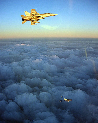 F/A-18C Hornets w/ British RAF L-1011 Refueling Aircraft Photo Print