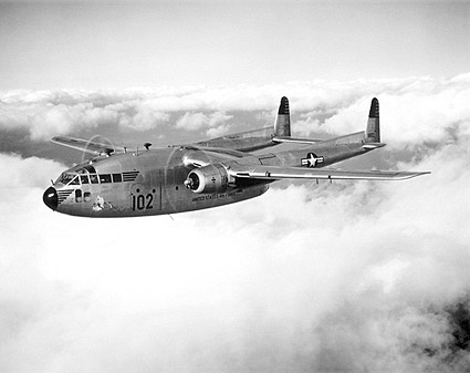 Fairchild C-119 Flying Boxcar in Flight Photo Print for Sale
