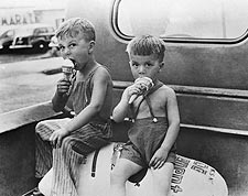 Farm Boys Eating Ice Cream Cones 1941 Photo Print for Sale