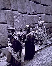 Fashion Model and Peruvian Women 1952 Photo Print for Sale