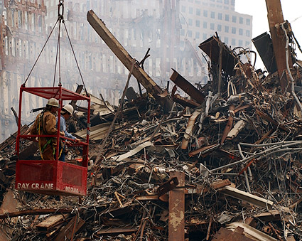 FDNY Firemen in Crane Bucket at Ground Zero 9/11 Photo Print