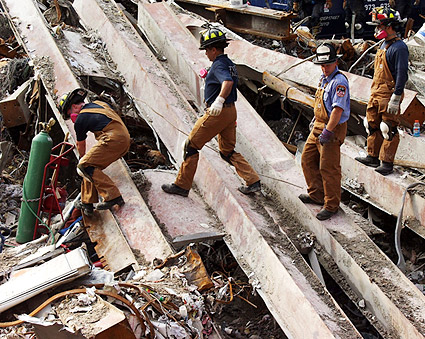 FDNY Search Team Climbs Over Beams 9/11 Photo Print