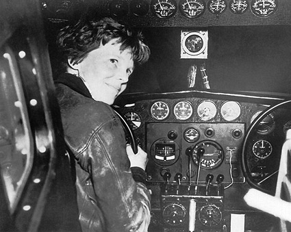 Female Aviator Amelia Earhart in Cockpit Photo Print