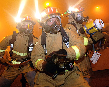 Firefighters in a Training Exercise Photo Print