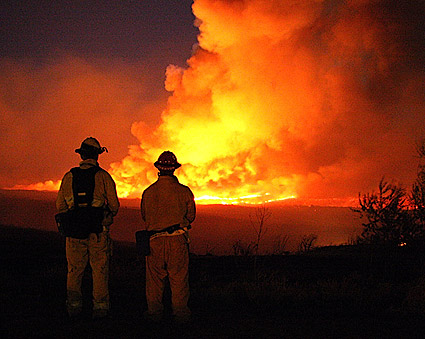 Firefighters Watching Wildfire Photo Print