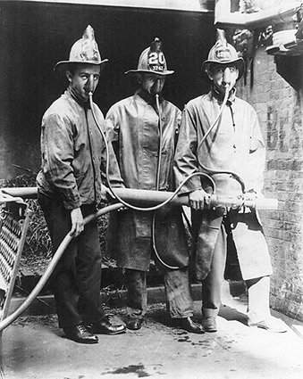 Firefighters Wearing Smoke Mask Invention Photo Print