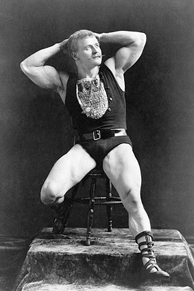 First Bodybuilder Eugen Sandow Flexing 1893 Photo Print