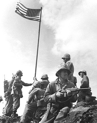 First Flag Raising at Iwo Jima WWII Photo Print