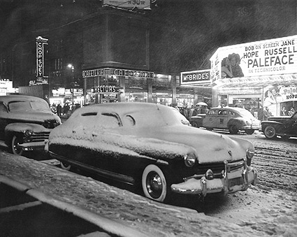 First Snow of Year Times Square NYC 1948 Photo Print