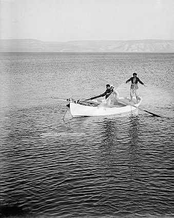 Fishermen on the Sea of Galilee 1939 Photo Print