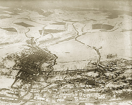 Fléville, France Aerial View WWI Photo Print