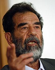 Former Iraqi President Saddam Hussein at Tribunal 2004 Photo Print for Sale
