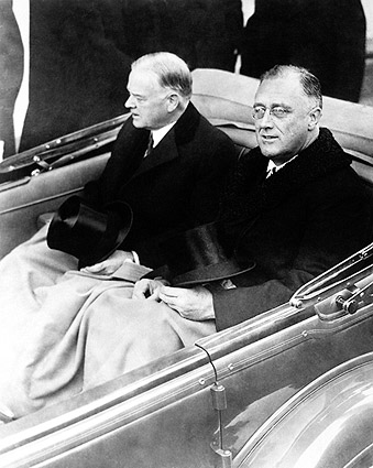 Franklin Roosevelt & Herbert Hoover in Car Photo Print