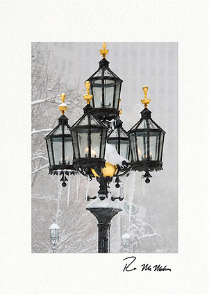 Freezing City Hall Gaslights, New York City Individual Holiday Cards