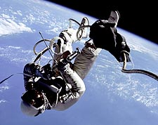 Gemini 4 Astronaut Edward White EVA Over Earth Photo Print for Sale