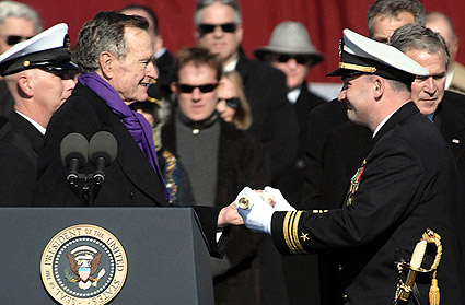 George H.W. Bush at Commissioning of CVN 77 Photo Print