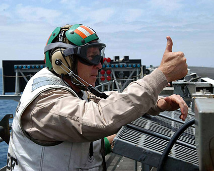 George W. Bush Thumbs Up on Flight Deck Photo Print