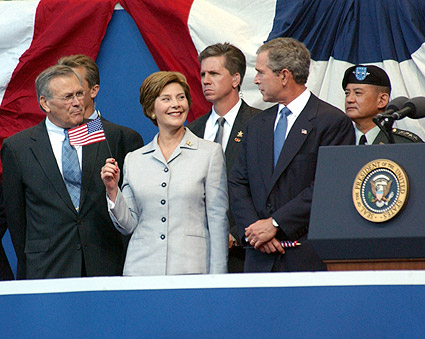 George W & Laura Bush with Donald Rumsfeld Photo Print