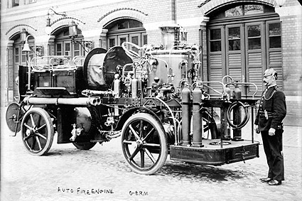 German Firefighter Auto Fire Engine Early 1900s Photo Print