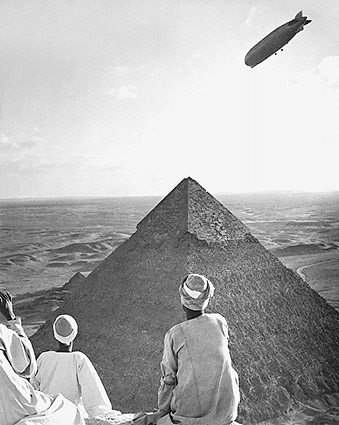 Graf Zeppelin Over Pyramids of Giza, Egypt Photo Print