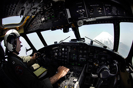 Grumman C-2A Greyhound Pilot in Cockpit Over Mount Fuji Photo Print