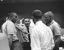 Gus Grissom & John Glenn in Control Center Photo Print for Sale