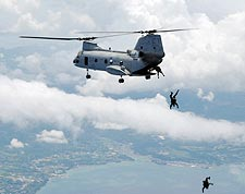 High Altitude Sky Dive CH-46 Sea Knight Photo Print for Sale
