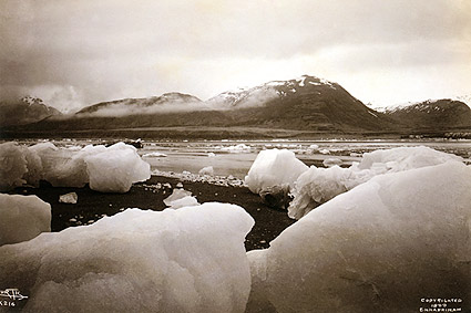 Icebergs, Mountains, Alaska Edward S. Curtis Photo Print