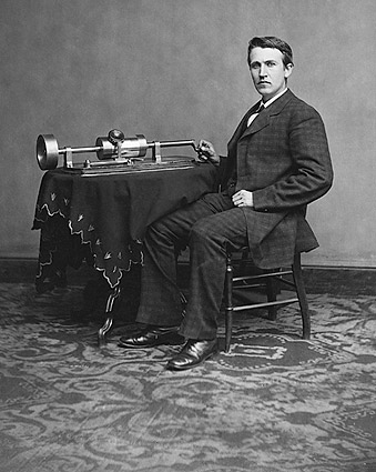 Inventor Thomas Edison Phonograph Portrait Photo Print