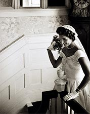 Jackie Kennedy Throwing Wedding Bouquet Photo Print for Sale