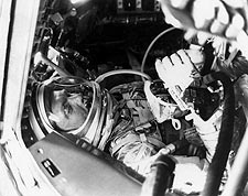 John Glenn in Mercury Capsule Photo Print for Sale