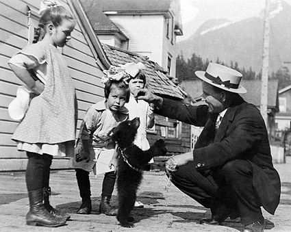 Kids & Adults Play w/ Bear Cub Pet 1900s Photo Print