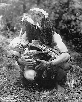 Kwakiutl Man and Mummy Edward S. Curtis Photo Print