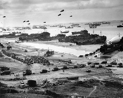 Landing Ships Unload Supplies at Omaha Beach WWII Photo Print