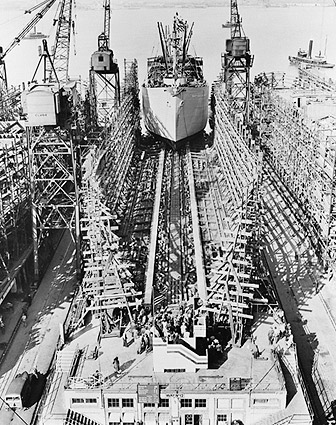 Liberty Ship Construction in Baltimore WWII Photo Print