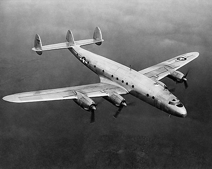 Lockheed Constellation C-69 In Flight 3/4 Front Top View  Photo Print