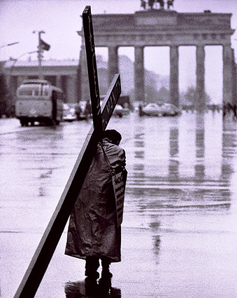 Lone Man Carries Cross Berlin West Germany Photo Print