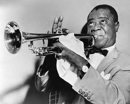 Louis Armstrong Playing Trumpet 1953 Photo Print