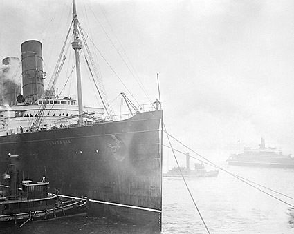 Lusitania Ocean Liner w/ Tugboats 1900s Photo Print