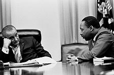 Lyndon Johnson and Martin Luther King in Cabinet Room Photo Print for Sale