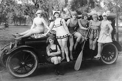 Mack Sennett's Sexy Bathing Beauties on Car Photo Print