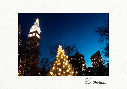 Madison Square Park Clock Tower and Flatiron Building Boxed Christmas Cards