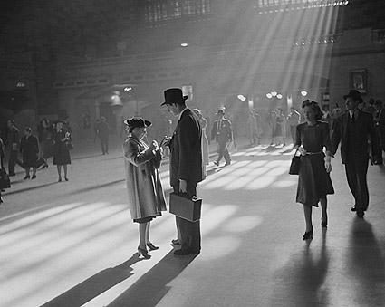 Man and Elderly Woman in Grand Central Station NYC Photo Print