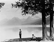 Man Fishing on Mountain Lake 1940 Photo Print for Sale