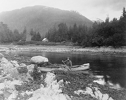 Man in Canoe in Alaska Edward S. Curtis Photo Print
