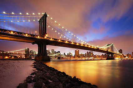 Manhattan Bridge at Twilight New York City Photo Print