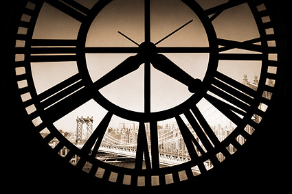 Manhattan Bridge through Clocktower NYC Photo Print