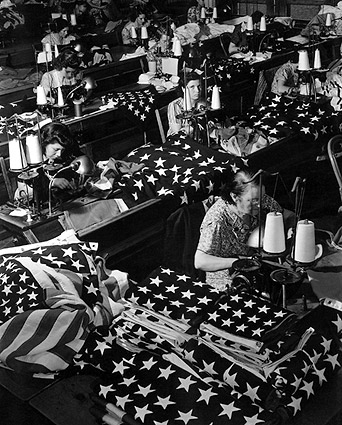 Margaret Bourke White Women Sewing Flags Photo Print