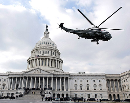 Marine Helicopter at Capitol After Obama Inauguration Photo Print